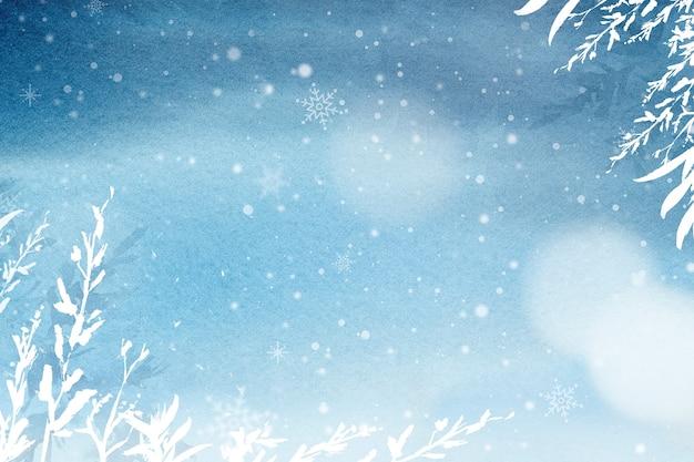 Цветочный зимний акварельный фон в синем с красивым снегом