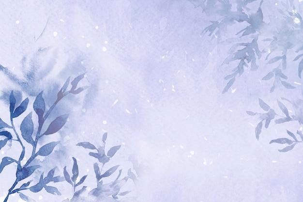 美しい雪と紫色の花の冬の水彩画の背景
