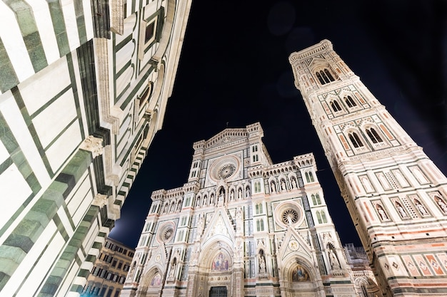 Florence, italy - circa august 2021: florence by night. the  illuminated architecture of the famous cathedral exterior.