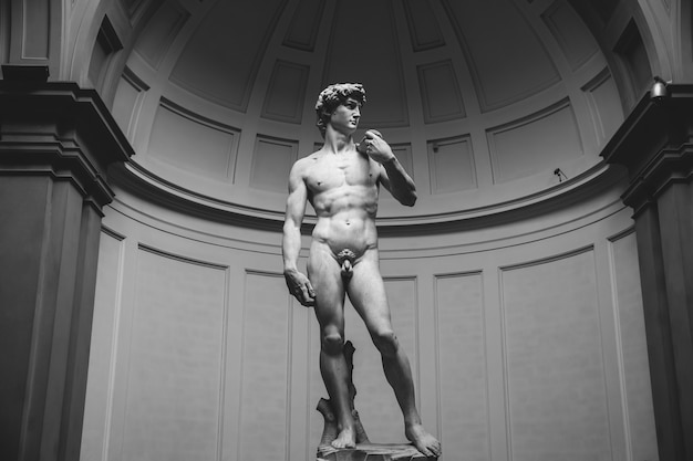 Florence, italy - june 24, 2018: closeup of renaissance sculpture is david by michelangelo, created in between 1501 and 1504 in academy of fine arts of florence (accademia di belle arti di firenze)