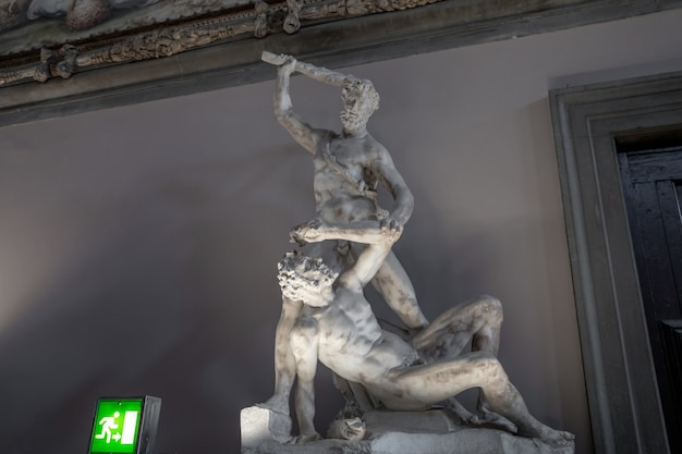 Florence, italy - june 24, 2018: closeup view of marble sculptures by italian artists in palazzo vecchio (old palace)