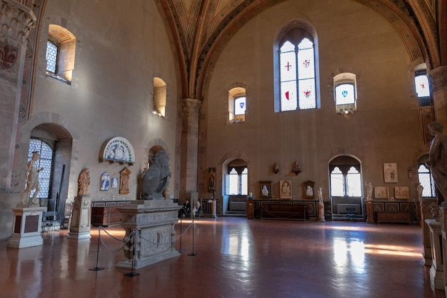 Florence, italy - june 24, 2018: panoramic view of interior in bargello, also known as palazzo del bargello, museo nazionale del bargello. it is former barracks and prison, now an art museum