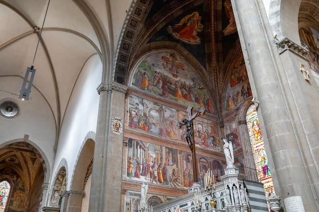 Florence, italy - june 24, 2018: panoramic view of interior of basilica of santa maria novella. it is the first great basilica in florence, and is the city's principal dominican church