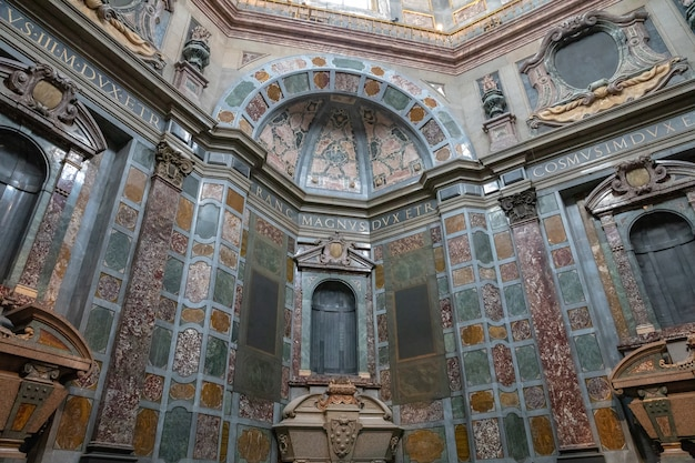 Florence, italy - june 24, 2018: panoramic view of interior of the medici chapels (cappelle medicee) are two structures at the basilica of san lorenzo in florence