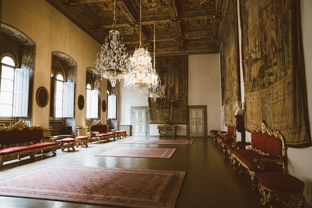 Florence, italy - june 25, 2018: panoramic view of interior of palazzo medici, also called palazzo medici riccardi. it is renaissance palace in florence. it is seat of metropolitan florence and museum