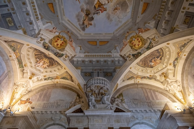 Florence, italy - june 26, 2018: panoramic view of interior and arts of palazzo pitti (pitti palace) is palace in florence. it is situated on south side of the river arno