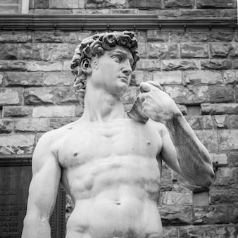 Florence, italy. michelangelo's david in front of palazzo vecchio.
