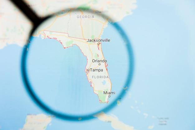 フロリダ州フロリダ州の拡大鏡によるディスプレイ画面の視覚化の例示的な概念