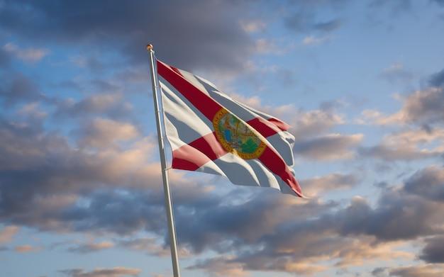 空の背景にフロリダ州の米国旗。 3dアートワーク