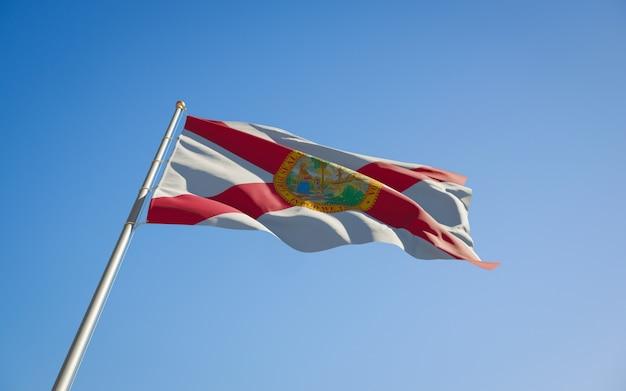 フロリダ州の米国旗のローアングル。 3dアートワーク