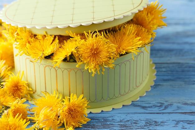 Флорист за работой: как сделать коробочку с цветами одуванчиков
