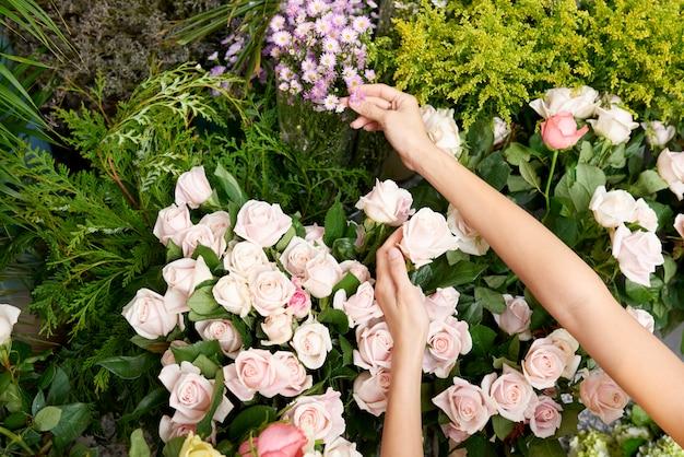 Florist choosing flowers