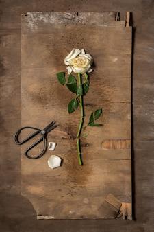 Florist desktop with working tools