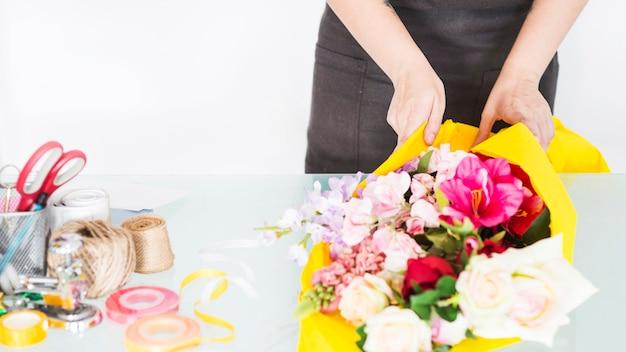 花屋、手ざわり、花、黄色、布