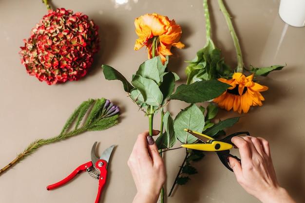 花屋の手は庭のはさみでバラを切る