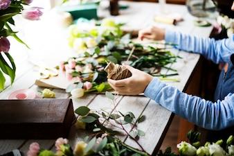 Florist job flower arrangement and decoration