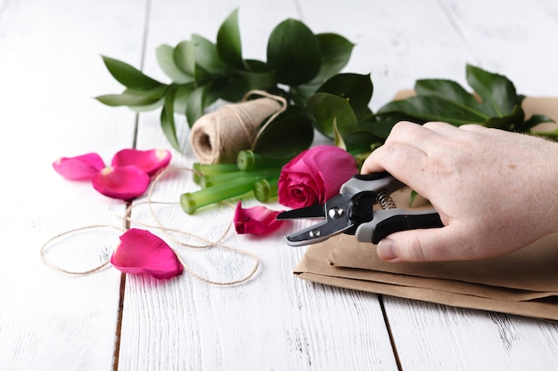 Florist at work, how to make bouquet