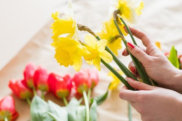 Флористическое искусство. флорист делает букет из желтых нарциссов. простая и красивая весенняя цветочная композиция.