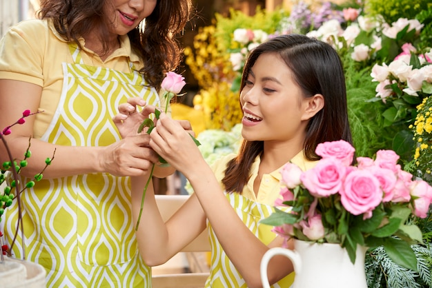Florists working on bouquet