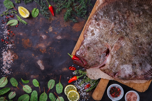Flounder raw fish. summer party food