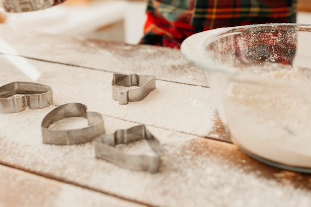 Flour and christmas cookie forms assortment