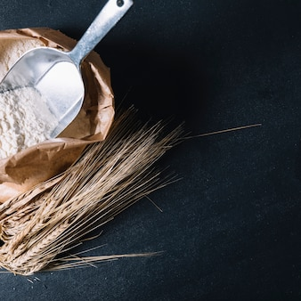 Flour with shovel in paper bag and wheat ear on black textured backdrop