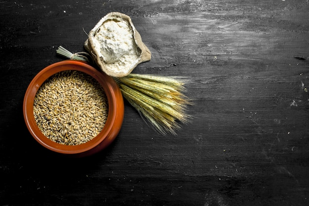 Flour with spikelets and wheat on the black chalkboard