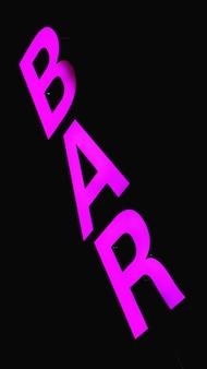 Flouresant neon pink bar sign - vertical black background