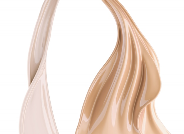 Flow of liquid foundation splash cream, 3d illustration.
