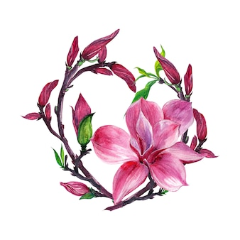 Flower arrangement, floral wreath with magnolia flowers, isolated