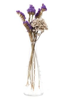 흰색 배경에 투명한 꽃병에 말린 꽃의 꽃꽂이