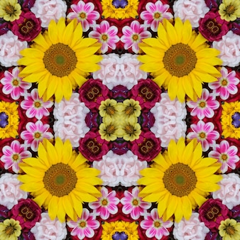 Flower background. effect of a kaleidoscope. seamless pattern