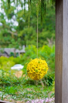 Flower balls, beautiful ornamental wreath in the shape of sphere