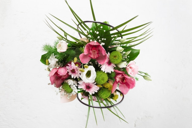 Flower bouquet flat lay, top view