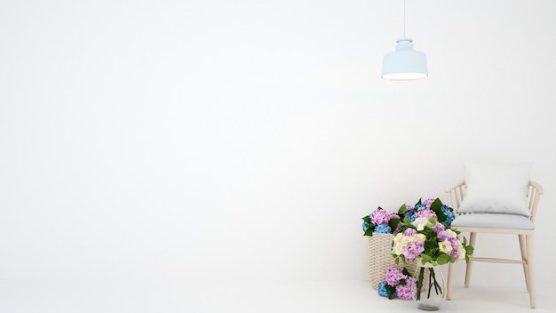 Flower and chair in white room