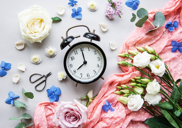 Flower composition and alarm clock