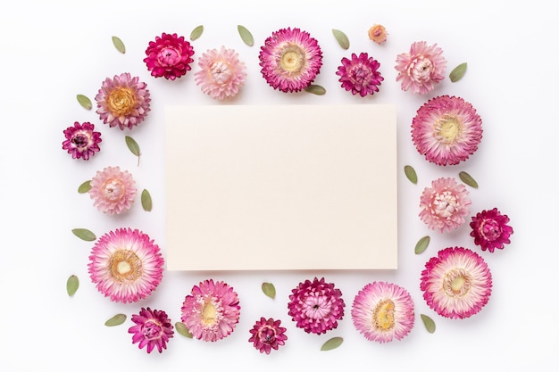 Flower composition. blank of paper and frame made of dry flowers on white background. flat lay. top view. copy space - image