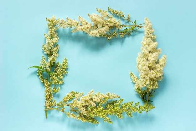 Flower composition. frame nature floral rectangular wreath of blooming twig white flowers on blue background
