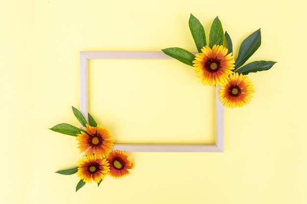 Flower composition. frame of yellow-orange flowers and green leaves on a yellow background, space for text. spring background. flat lay.