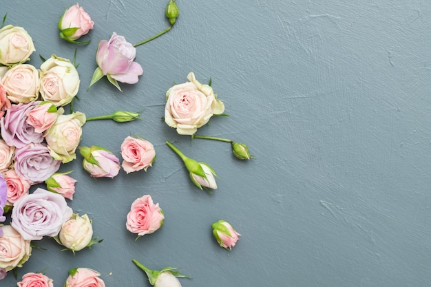 花の組成。新鮮なバラのボーダーの装飾。灰色の背景にスペースをコピーします。フラットレイ。