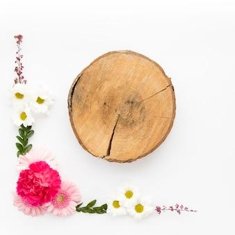 Flower composition near stump