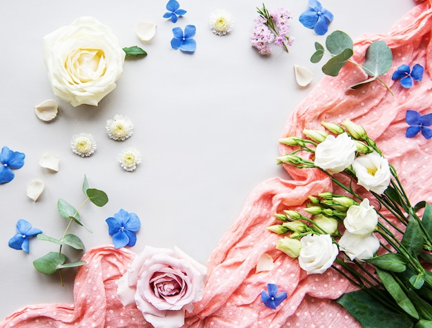 Flower composition on white background