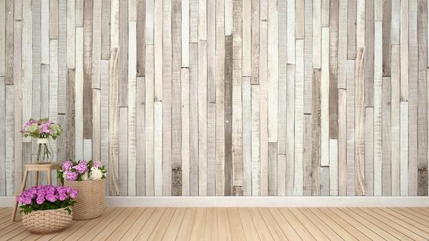 Цветочное оформление в пустой комнате. дизайн интерьера. винтажный стиль