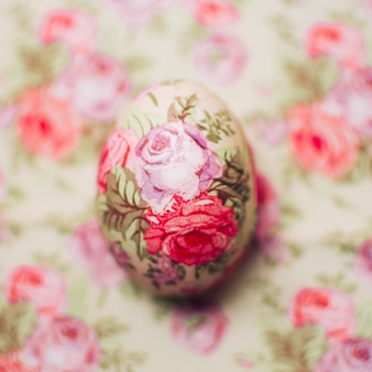 Flower decoupaged easter egg