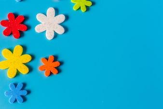 Flower eva foam for decoration isolated on blue background