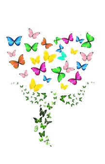Flower of flying butterflies isolated on a white background. high quality photo