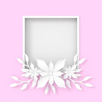 花フレームの背景デザイン。 3dレンダリング。