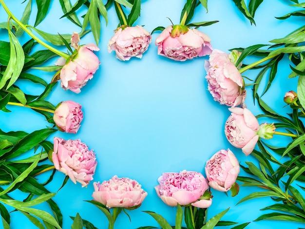 Цветочная рамка из розовых пионов с зелеными листьями на синем фоне
