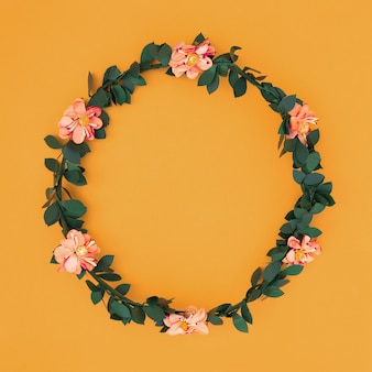 Flower frame over an orange