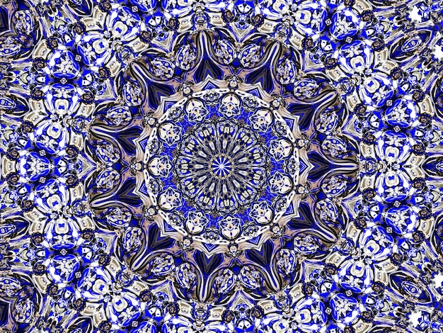 Flower gzhel deco round mandala design decorative elements indigo, blue line and white area for coloring. shadow around of mandala and color background. arab, islam, indian, chinese yoga illustration